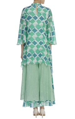 Printed asymmetric tunic with layered skirt