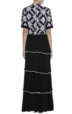 Printed crop top with four layered skirt