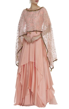 Asymmetric kurta with embroidered cape