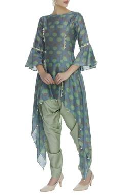 Asymmetric printed tunic with dhoti pants