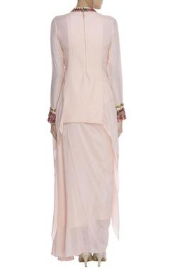 Embroidered kurta with draped skirt