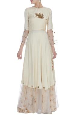 Embrodiered kurta with gota work skirt