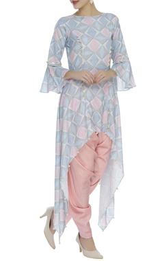 Printed asymmetric tunic with dhoti pants