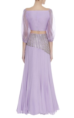Off shoulder blouse with mirror embroidered lehenga