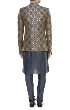 Mandarin collared sherwani with kurta & pyjama