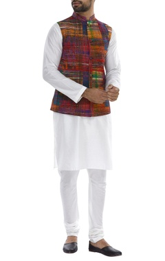 Mandarin collared nehru jacket with kurta & pyjama