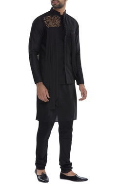 Pleated embroidered nehru jacket with kurta & pyjama