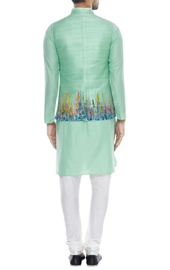 Abstract printed nehru jacket with kurta & pyjama