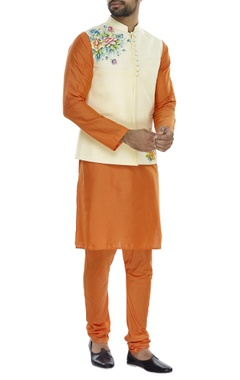 Floral printed nehru jacket with kurta and pyjama