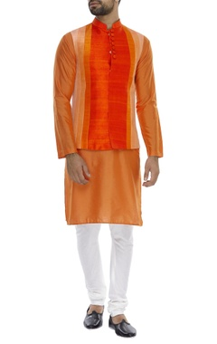 Vertical paneled nehru jacket with kurta & pyjama