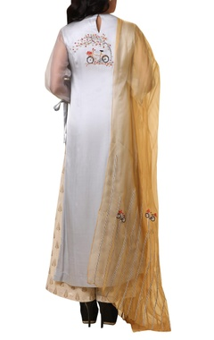 Embroidered kurta palazzo set with dupatta