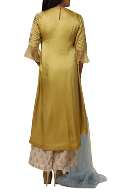 Draped bicycle Embroidered kurta palazzo set