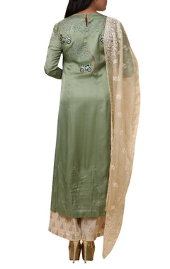 Machine embroidered kurta with palazzo & dupatta