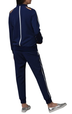 Striped cut out track suit