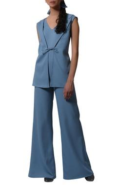 Blazer jumpsuit with tie up detail