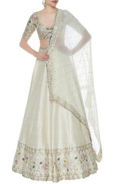 Divya Reddy Floral embroidered lehenga & blouse with badla dupatta