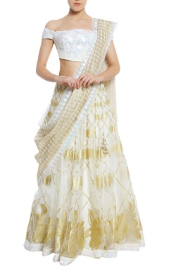 Printed lehenga with embroidered off shoulder blouse & dupatta