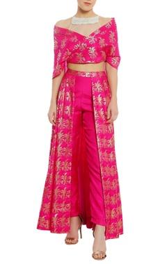Sheer net embroidered yoke blouse with lehenga