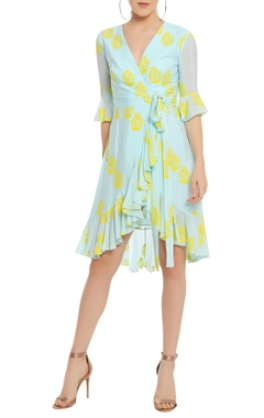 Masaba Potted printed wrap dress with ruffle detail