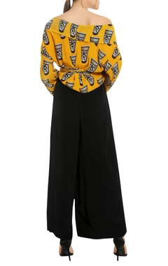 Printed off shoulder top with palazzo pant