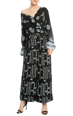 Masaba Lapel collar off shoulder top with palazzo pants