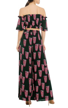 Printed off shoulder top with palazzo pants