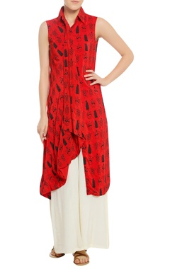 Masaba Tribal mask print tunic with pleated front