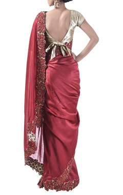 Embroidered border sari & unstitched blouse