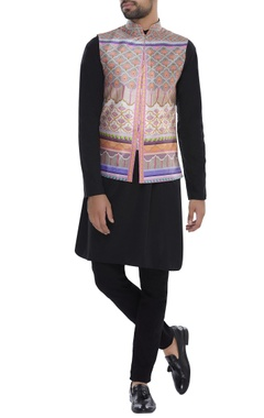 Printed Mandarin Collar Nehru Jacket