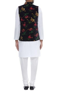 Floral Print Velvet Nehru Jacket