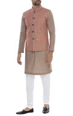 Striped bundi with polka dot kurta & churidar