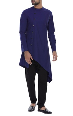 Side button placket Asymmetric kurta with churidar
