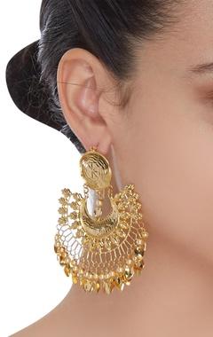 Metallic chandbali earrings