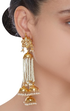 Pearl jhumka dangling earrings