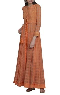 Threadwork embroidered anarkali kurta set with waistbelt