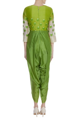 Threadwork jumpsuit with ombre sleeves
