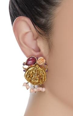 God figure embossed image earrings