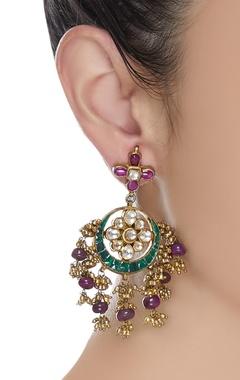 Kundan earrings with ruby pota