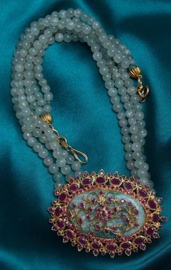 Ruby zircon pendant & beads necklace