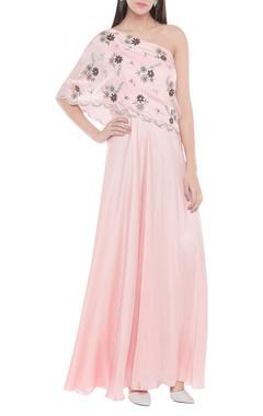 One shoulder floral cutwork gown