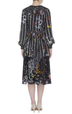 Printed layered midi dress