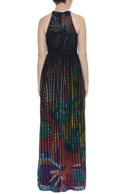Printed elasticised waist long dress