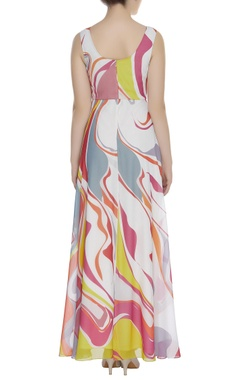 Printed flared maxi dress