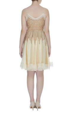 Embroidered frilled short dress