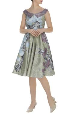 Printed flared short dress