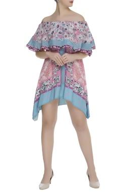 Printed off shoulder asymmetric short dress