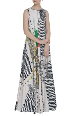 Printed & striped flared maxi dress