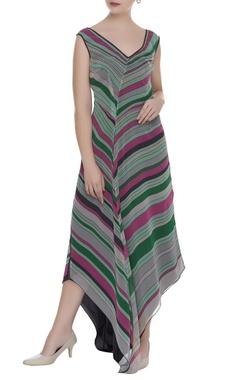 Striped asymmetric maxi dress