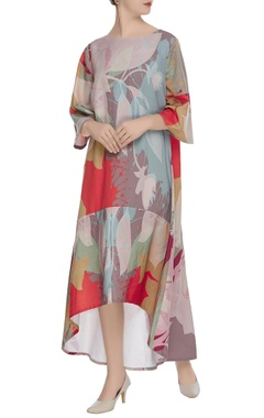 Printed high low flared maxi dress