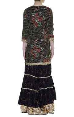 Sequin embroidered kurta with sharara & dupatta